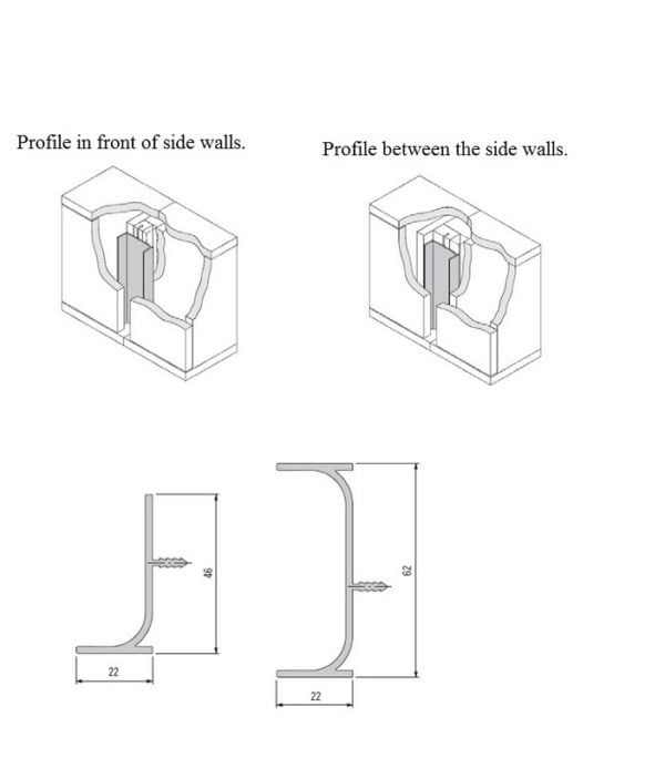 Profile for vertical mounting