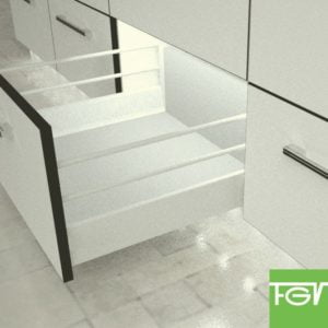 """TEN"" drawer H-90+X mm with 2 pairs of railings"