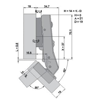 """TOP LINE"" 45° angle corner cabinet hinge"
