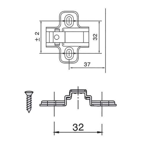 """Mounting plates for hinges """"TOP LINE"""", adjustable Expando"""