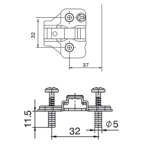 """Mounting plates for hinges """"TOP LINE"""", adjustable Expando LPLR.H"""