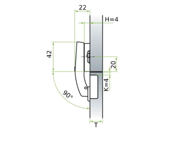 """""""MS Slide-on"""" hinge for corner doors"""