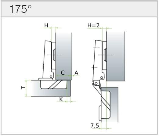 """Hinge """"MS Slide-on"""" 175°"""