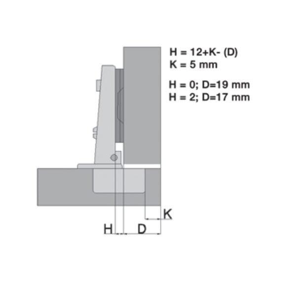 """Hinge for aluminum frames """"Basic QS"""" 95° 2"""
