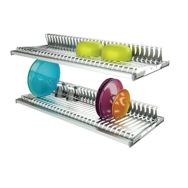 Two shelves dish racks in stainless steel with 2 aluminum frames 2