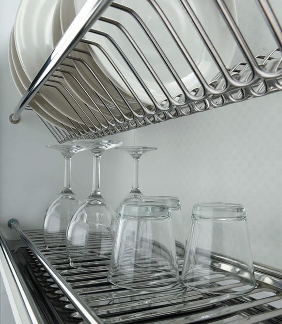 Two shelves dish rack in stainless steel 1