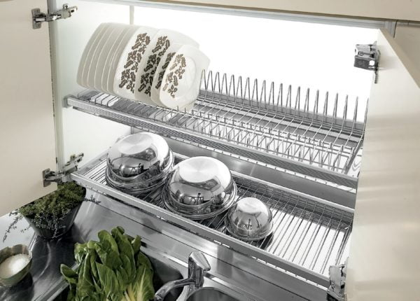 Two shelves dish racks with 2 aluminum frames 2