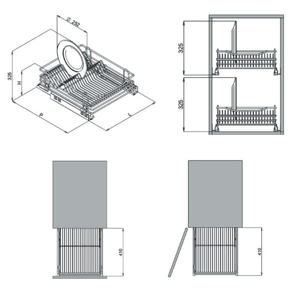 Pull out dish rack - drawer 3