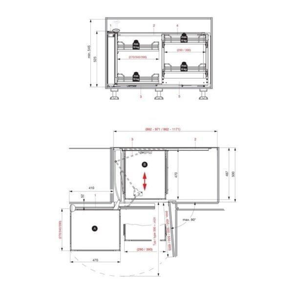 Magic Corner Comfort with FIORO shelves 4