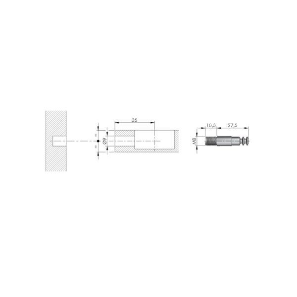 M8x38 mm bolt for Spiral Lock 4
