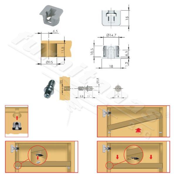 Shelf locking support FLIPPER with euro screw