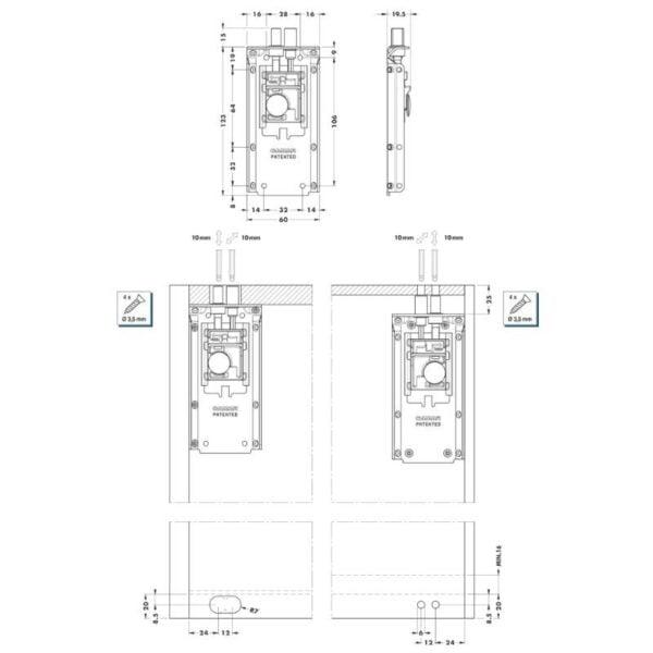 Fully concealed cabinet holder 823 4