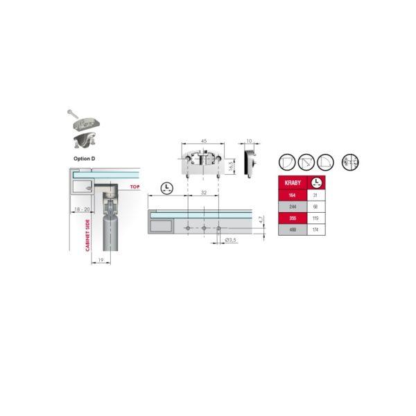 "Bracket adapter for narrow aluminum profile doors (nickel plated) for ""KRABY"""