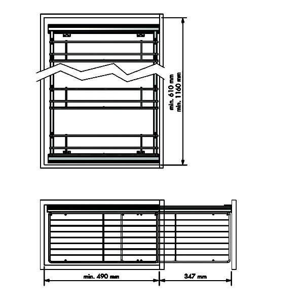 Pull-out frame side runners CLASSIC for 200-400mm cabinet