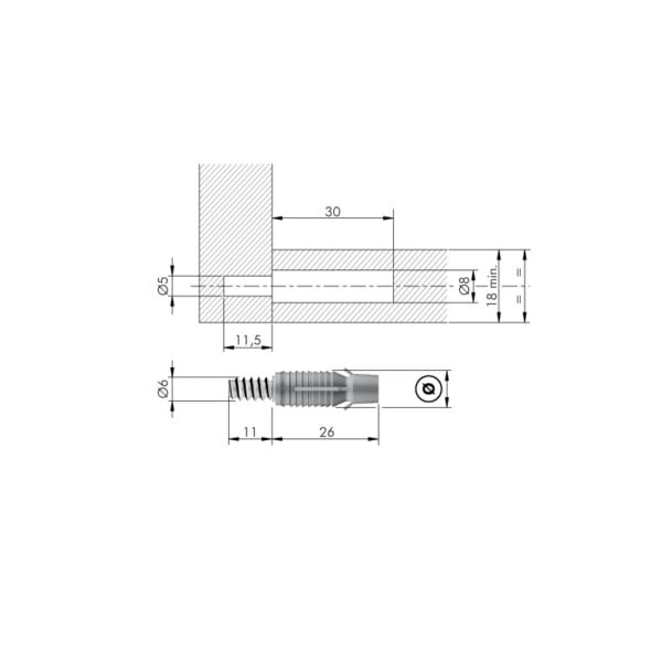 PAD - Permanent Assembly Dowel with engineering plastic sleeve conceived for minimum thickness 18mm 2