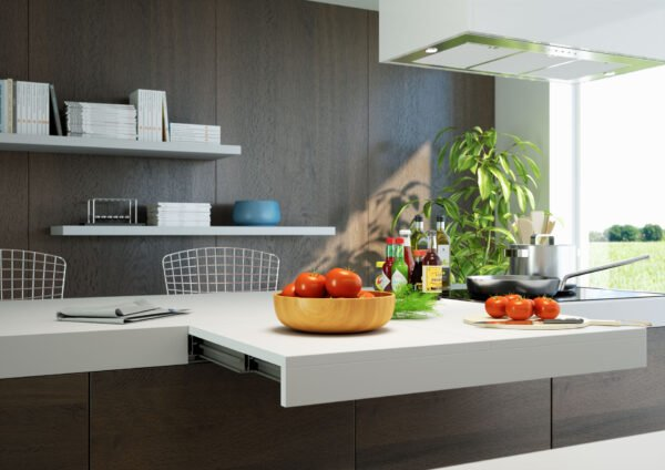 Sandwich – Pull-out worktop flush with top