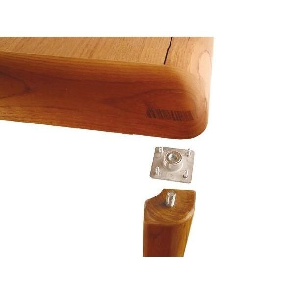 QUADRANGULAR PLATE WITH BUSHING FOR TABLE LEG FASTENING